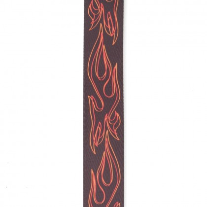 Planet Waves Flames Pinstripe Woven Guitar Strap, Red