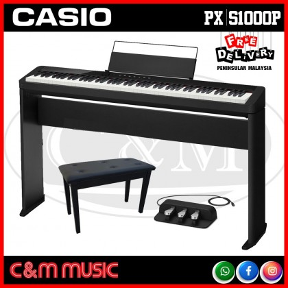 Casio Privia PX-S1000 88-key Digital Piano Keyboard Home Package - Black (PXS1000 / PX S1000) *FULL SET PROMO*