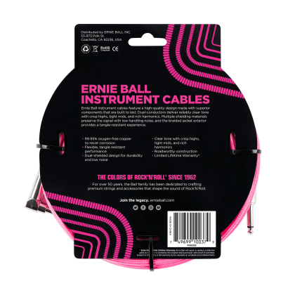 Ernie Ball 6083 18' Braided Straight / Angle Instrument Cable - Neon Pink