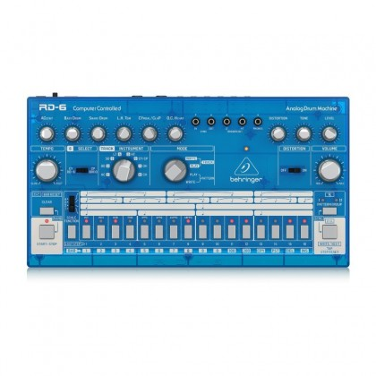 BEHRINGER RD-6-BB Classic Analog Drum Machine With 8 Drum Sounds, 16-Step Sequencer And Distortion Effect - Blue Translucent