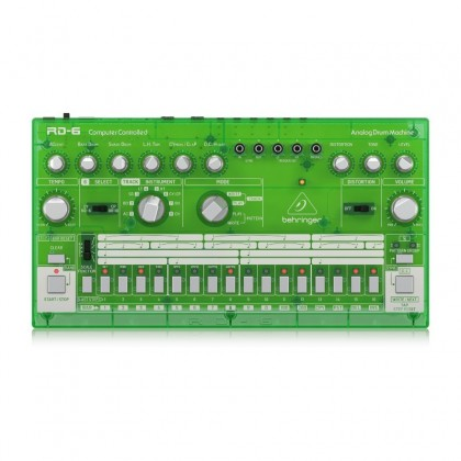 BEHRINGER RD-6-LM Classic Analog Drum Machine With 8 Drum Sounds, 16-Step Sequencer And Distortion Effect - Green Translucent