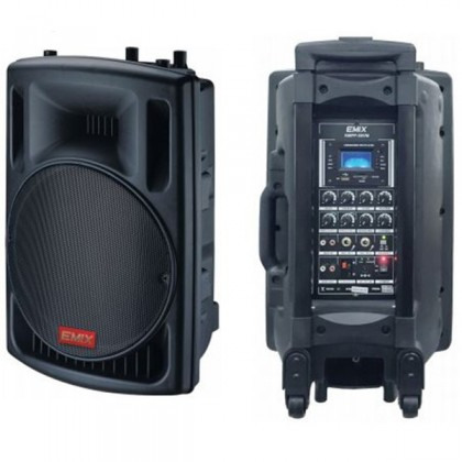 """EMIX EMPP58VM 12"""" 350W portable amplifier with Bluetooth, USB / SD Card player and recorder. Comes with 2 nos VHF wireless handheld microphone"""